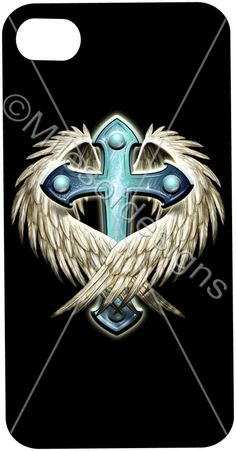Soft Cover Custom Cross with Wings Tattoo Religious Personalized