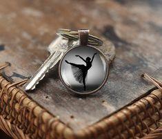 Ballerina silhouette Keychain, Ballerina Keychain, Photo Ballerina Keychain, Ballet Art Gift Keychain, Black White Ballet Dancer Keychain