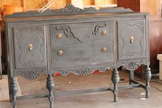 buffet re-finished in Vermont Slate (CeCe Caldwell's paint)  @Sarah Hand-me-downs by Hanson