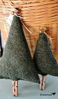 Boiled Wool Christmas Tree Topiaries.