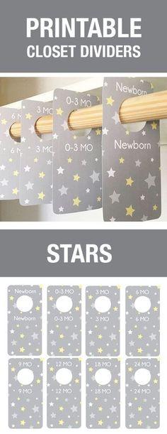 Gray and Yellow Stars, Baby Room Decor, Stars Nursery Theme, Yellow Stars Baby, Baby Shower Gift, Gender Neutral Baby Shower Gift, Closet Organization, Baby Hanger Dividers, Baby Labels