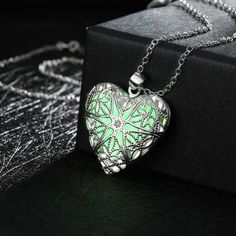 Big Promotion Silver Plated luminous Stone Glow In The Dark Fairy Locket Heart Pendant Necklace for Party Women Jewelry