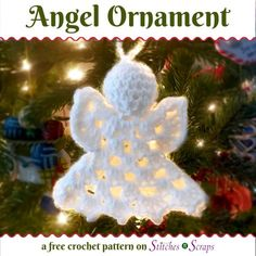 Crochet Toys Patterns Free Pattern - Angel Ornament via - Make some for yourself, and some for your friends. This sweet little angel ornament works up fast, and makes a great gift. There's a video tutorial too! Crochet Christmas Decorations, Crochet Christmas Ornaments, Christmas Crochet Patterns, Christmas Angels, Christmas Crafts, White Ornaments, Christmas Knitting, Christmas Bells, Crochet Snowflake Pattern
