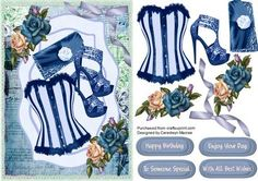 Lovely blue bask and roses  on Craftsuprint - Add To Basket!