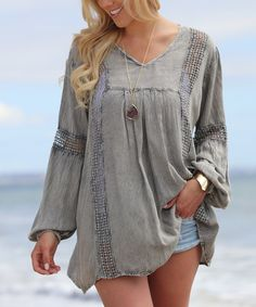 Take a look at this Ananda's Collection Gray Pierced Tunic today!
