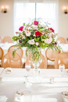 5: Tall Fluted Vase with draping florals