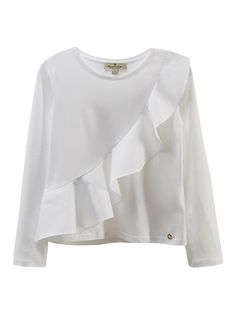 T-shirt with crossed ruffle trim, made of a cotton and modal blend. Features a straight fit, round neckline and long sleeves.