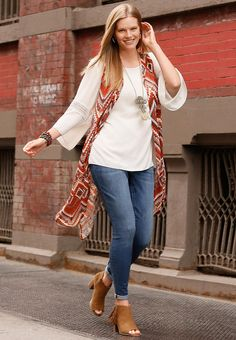 Bohemian Bliss | Expand your style horizons in this crochet trim poet top & heritage print duster vest. A long fringe necklace & fringe ankle boots mix chic style with a boho beat. - See more at: http://www.catofashions.com/outfits/251#sthash.HFdzoEBN.dpuf