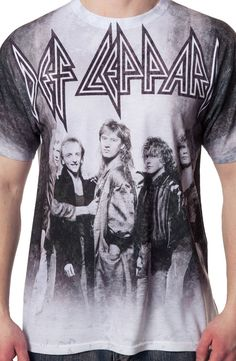 This sublimation Def Leppard shirt shows a black and white group photo of the hard rock icons. From left to right, the shirt shows Steve Clark, Phil Collen, Joe Elliott, Rick Allen and Rick Savage. Def Leppard, Band Merch, Band Tees, Rock N Roll Music, Rock And Roll, Phil Collen, Sublime Shirt, Rock Outfits, Rock T Shirts