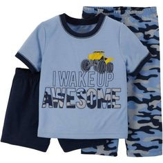 Child of Mine made by Carter's Baby Toddler Boy Shirt, Short and Pant Pajama Set 3 Pieces, Size: 6 - 9 Months, Blue