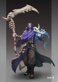 Necromancer by Xuanhan Chen on ArtStation. Video Game Characters, Dnd Characters, Fantasy Characters, Character Concept, Character Art, Concept Art, Character Design, Fantasy Armor, Dark Fantasy Art