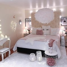 30 Cute Home Decor Ideas For Kid Bedrooms Cute Bedroom Ideas, Cute Room Decor, Girl Bedroom Designs, Home Decor Styles, Cheap Home Decor, Dream Rooms, My New Room, Home Decor Bedroom, Night Bedroom