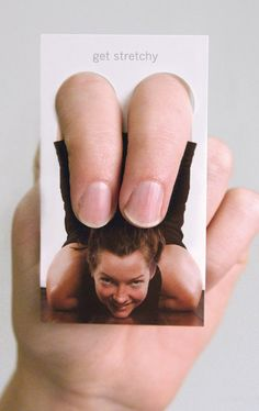 yoga marketing idea - love it easy way work out your fingers but make people think ur stretching ur legs!