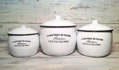 French Enamelware La Boutique De Fleurs Canisters by Antique Pop Art traditional food containers and storage