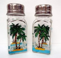 Kitchen gift: Palm Tree Salt and Pepper Shakers hand painted by Pendragonartworks, $14.00. For those who love palm trees.