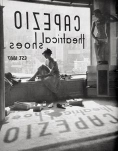 Lisa Larsen     Trying on Shoes at Capezio Theatrical Shoes, New York City     c.1949