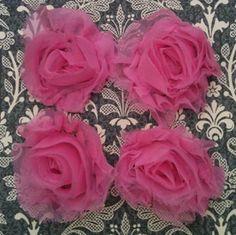 Bubblegum Shabby Chiffon Flowers