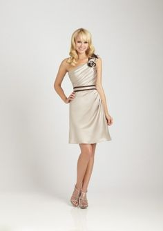 A-line One Shoulder Short/ Mini in Satin Bridesmaid Dress