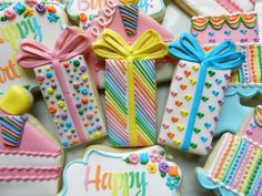 Flour Box Bakery has hand-iced decorated cookie gifts and favors, how-to cookie decorating video tutorials, and professional and affordable decorating supplies. Fancy Cookies, Iced Cookies, Cute Cookies, Sugar Cookies, Frosted Cookies, Owl Cookies, Happy Birthday Cookie, Birthday Cookies, Cookie Icing