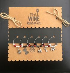 Items similar to Dog Lover's set / wine charms / cocktail charms / margarita charms on Etsy Wine Glass Crafts, Cork Crafts, Cutlery Art, Wine Tags, Wine Charms, Homemade Gifts, Dog Lovers, Handmade Jewelry, Craft Projects