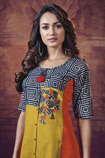 Picture of Distinctive multicolored designer kurti Indian Bollywood, Indian Sarees, Salwar Kameez, Kurti, Women Wear, Ladies Wear, Kamiz, Dress Neck Designs, Kurta Designs