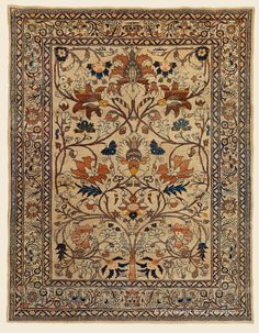 "DORASHT ""Tree of Life"", 4' 6"" x 5' 9"" — Circa 1875, Northeast Persian Antique Rug - Claremont Rug Company"