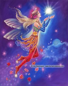 """This painting, """"FOLLOW YOUR SHINING STAR"""" will be in my new ebook """"MYSTICAL FAIRIES"""". It will be available September 6th at Smashwords.com. Preorders will be available for Kobo and iBooks soon. Until then, feel free to download a sample here:https://www.smashwords.com/books/view/460114"""