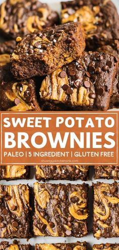 Flourless Sweet Potato Brownie (Paleo, Gluten Free) THIS is the ONE best healthy fudge brownie you NEED. There is NO sugar, flour or butter in this dairy free, gluten free, paleo sweet potato brownie recipe! Paleo Brownies, Fudge Brownies, Flourless Brownie, Sugar Free Brownies, Healthy Fudge, Healthy Sweets, Healthy Baking, Paleo Dessert, Healthy Dessert Recipes