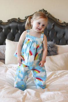 Adelaide Pajama Set — Little Lizard King Baby Frock Pattern, Pajama Pattern, Baby Girl Dress Patterns, Baby Clothes Patterns, Stylish Dresses For Girls, Dresses Kids Girl, Toddler Girl Outfits, Cotton Frocks For Kids, Kids Frocks