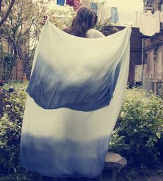 Silk Ombre Wrap Scarf by Miranda Bennett on Scoutmob Shoppe Diy Fashion, Autumn Fashion, Summer Scarves, Light In The Dark, Light Blue, Facon, I Dress, Diy Clothes, Scarf Wrap