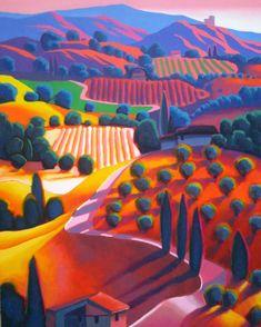 Dan Berkeland Vineyards in the Sunset Landscape Art, Landscape Paintings, Landscapes, Painting Inspiration, Art Inspo, Naive Art, Art Lessons, Painting & Drawing, Folk Art