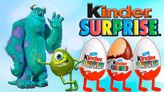 Открываем три больших яйца Киндер Сюрприз Корпорация Монстров.Большие Ки...