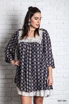 Navy Printed lace Trimmed Tunic