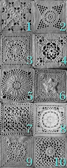 10 lacy afghan squares, with links to each of these free patterns on Ravelry: 1) Butterfly Garden; 2) Supernova; 3) Flower Burst; 4) Victorian Dream; 5) New Year's Eve; 6) Star Overlay; 7) Wheel Lattice; 8) Birthday Flower; 9) Mandala; 10) Lovely in Green . . . . ღTrish W ~ http://www.pinterest.com/trishw/ . . . .
