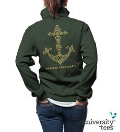 Love the intricate gold-foil anchor for these #DG quarterzips #DeltaGamma #Sorority | Made by University Tees | www.universitytees.com