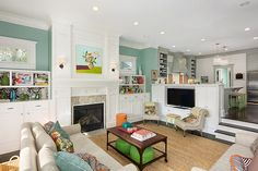 House of Turquoise: Jenna Buck Gross of Colordrunk Designs Living Room Kitchen - love the colors, patterns, and paint treatment in both rooms! House Design, Room Design, House, Sunken Living Room, Home, Living Room Remodel, Home Remodeling, Room Remodeling, Georgia Homes