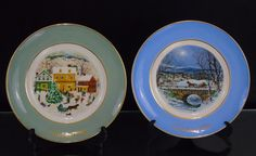 Avon Christmas Plate Series, Dashing Throught the Snow, Country Christmas, Vintage 1979 - 1980 Enoch Wedgwood Tunstall England