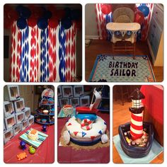 Nautical first birthday party, blue and red sailboat