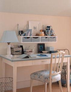 white, blue, office, shelves...love it. #office