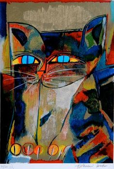 Multicolor Cat by Aldemir Martins Cat Drawing, Painting & Drawing, Illustrations, Illustration Art, C Is For Cat, Cat Character, Modern Art Paintings, Cat Colors, Arte Pop