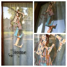 Fall decor door hanger:) letters from Hobby Lobby, scrapbook paper, exacto knife, and ribbon:)