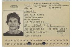 Patrick Swayze Passport from 1982 and 1987cra