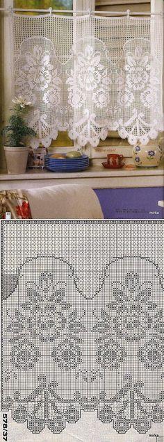 firana / zazdroska / szydełko / filet - My WordPress Website Crochet Patterns Filet, Crochet Curtain Pattern, Crochet Doily Diagram, Crochet Curtains, Curtain Patterns, Lace Curtains, Crochet Borders, Doily Patterns, Crochet Designs