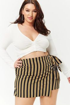 Product Name:Plus Size Striped Wrap Skirt, Category:plus_size-main, Price:22.9