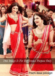 Prachi Desai Red Saree In Georgette . Shop at - http://www.gravity-fashion.com/prachi-desai-red-saree-in-georgette-gf7140290.html