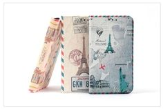 VINTAGE TRAVEL PARIS LONDON NEW YORK BOOK DIARY PHONE CASE FOR GALAXY NOTE 4