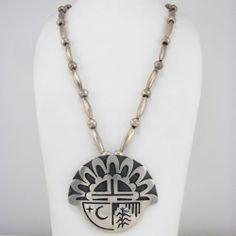 Loren Phillips (Hopi) Sterling Silver Sunface Kachina Overlay Necklace