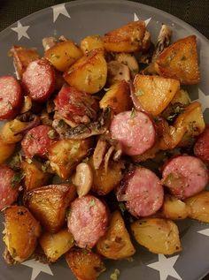 Saucisses fumées P.de terre champignons | Recettes Cookeo