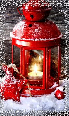 Christmas Animated Picture with Red Lantern
