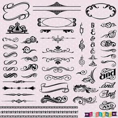 INSTANT DOWNLOAD Vintage Calligraphy Digital Clip by SasiyaDesigns, $5.00